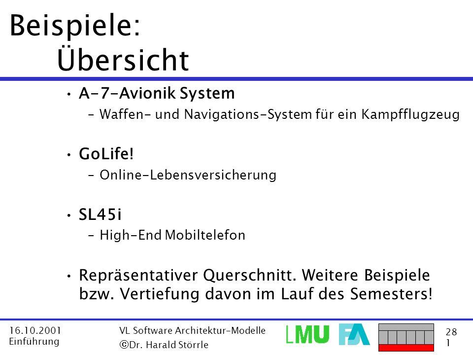 28 1 16.10.2001 Einführung VL Software Architektur-Modelle Dr. Harald Störrle Beispiele: Übersicht A-7-Avionik System –Waffen- und Navigations-System