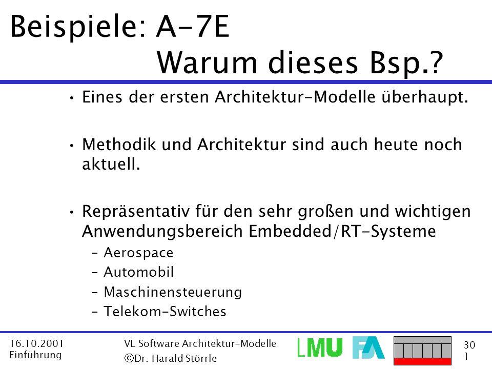 30 1 16.10.2001 Einführung VL Software Architektur-Modelle Dr. Harald Störrle Beispiele: A-7E Warum dieses Bsp.? Eines der ersten Architektur-Modelle