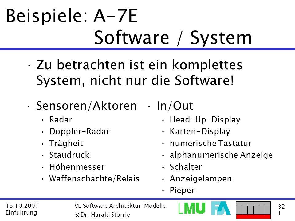 32 1 16.10.2001 Einführung VL Software Architektur-Modelle Dr. Harald Störrle Beispiele: A-7E Software / System ·Sensoren/Aktoren Radar Doppler-Radar