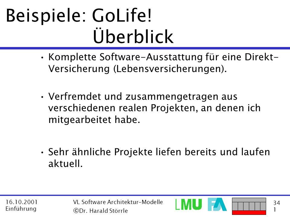 34 1 16.10.2001 Einführung VL Software Architektur-Modelle Dr. Harald Störrle Beispiele: GoLife! Überblick Komplette Software-Ausstattung für eine Dir