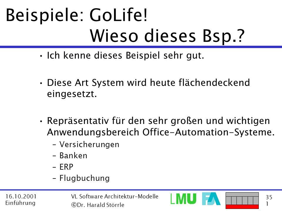 35 1 16.10.2001 Einführung VL Software Architektur-Modelle Dr. Harald Störrle Beispiele: GoLife! Wieso dieses Bsp.? Ich kenne dieses Beispiel sehr gut