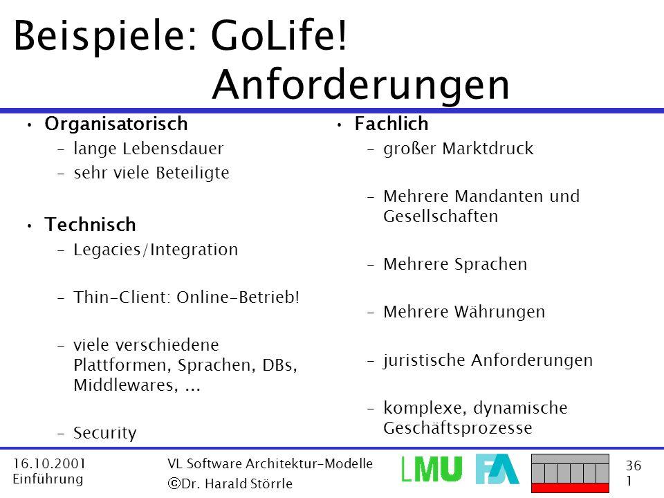 36 1 16.10.2001 Einführung VL Software Architektur-Modelle Dr. Harald Störrle Beispiele: GoLife! Anforderungen Organisatorisch –lange Lebensdauer –seh
