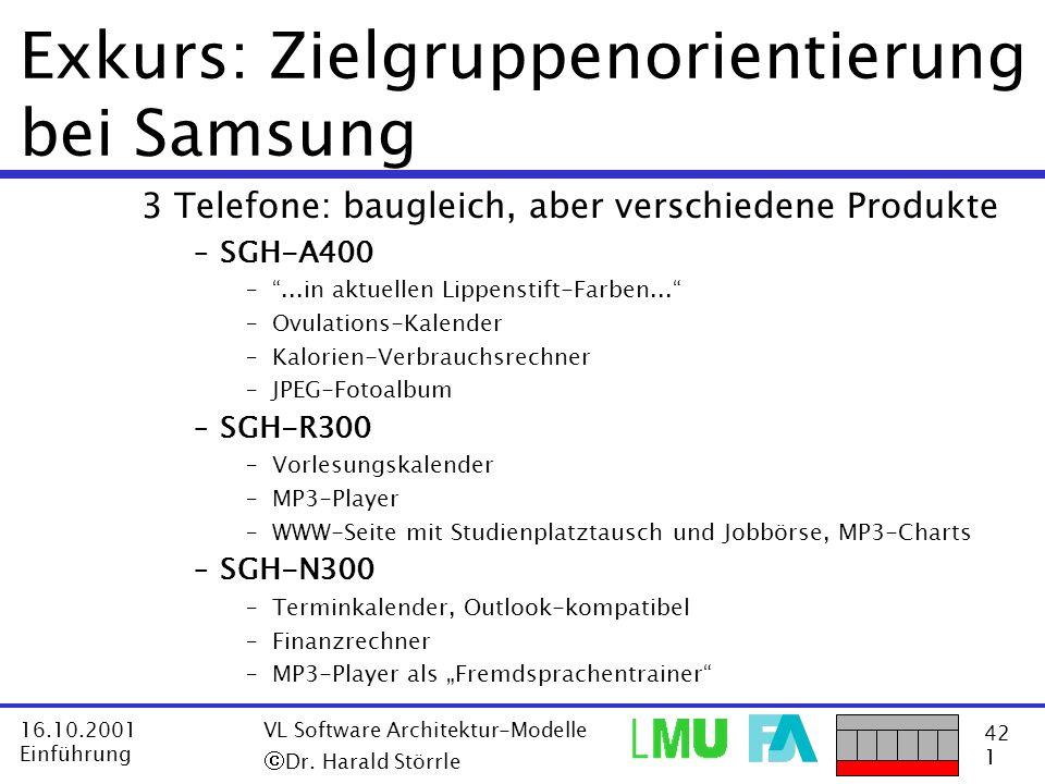 42 1 16.10.2001 Einführung VL Software Architektur-Modelle Dr. Harald Störrle Exkurs: Zielgruppenorientierung bei Samsung 3 Telefone: baugleich, aber