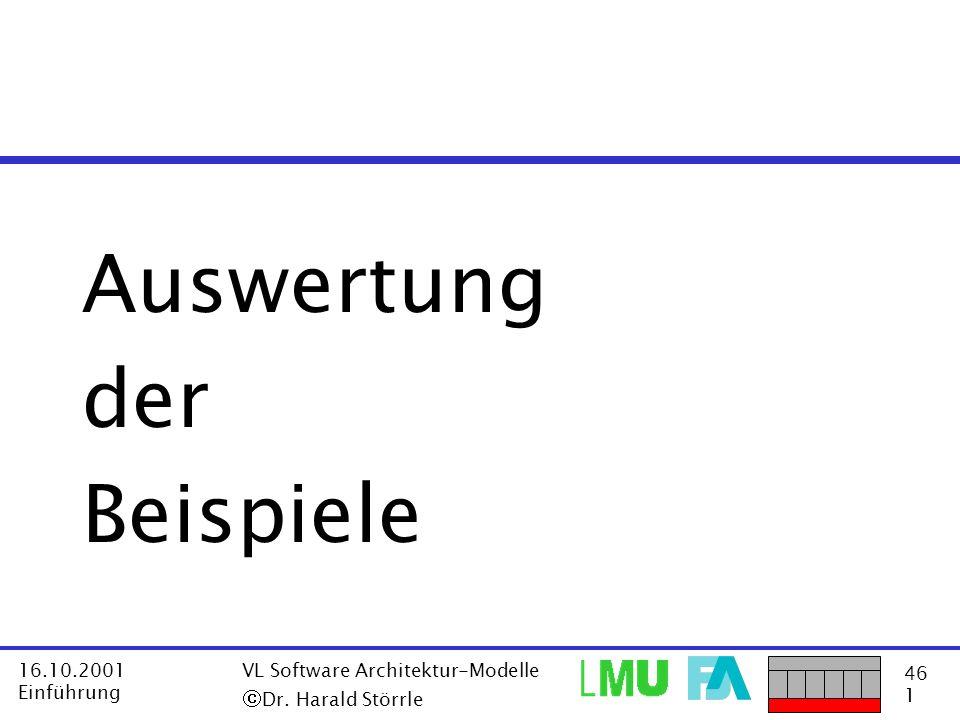 46 1 16.10.2001 Einführung VL Software Architektur-Modelle Dr. Harald Störrle Auswertung der Beispiele