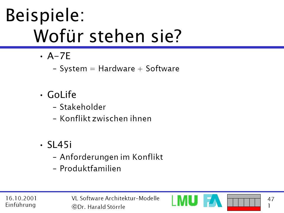 47 1 16.10.2001 Einführung VL Software Architektur-Modelle Dr. Harald Störrle Beispiele: Wofür stehen sie? A-7E –System = Hardware + Software GoLife –