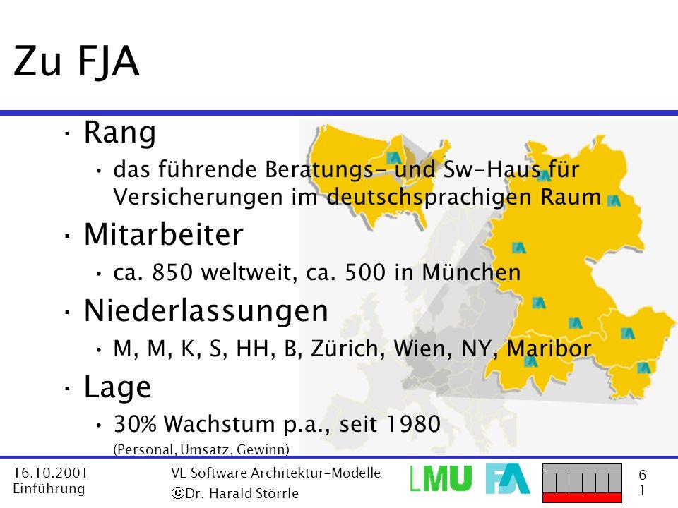 6161 16.10.2001 Einführung VL Software Architektur-Modelle Dr. Harald Störrle ·Rang das führende Beratungs- und Sw-Haus für Versicherungen im deutschs