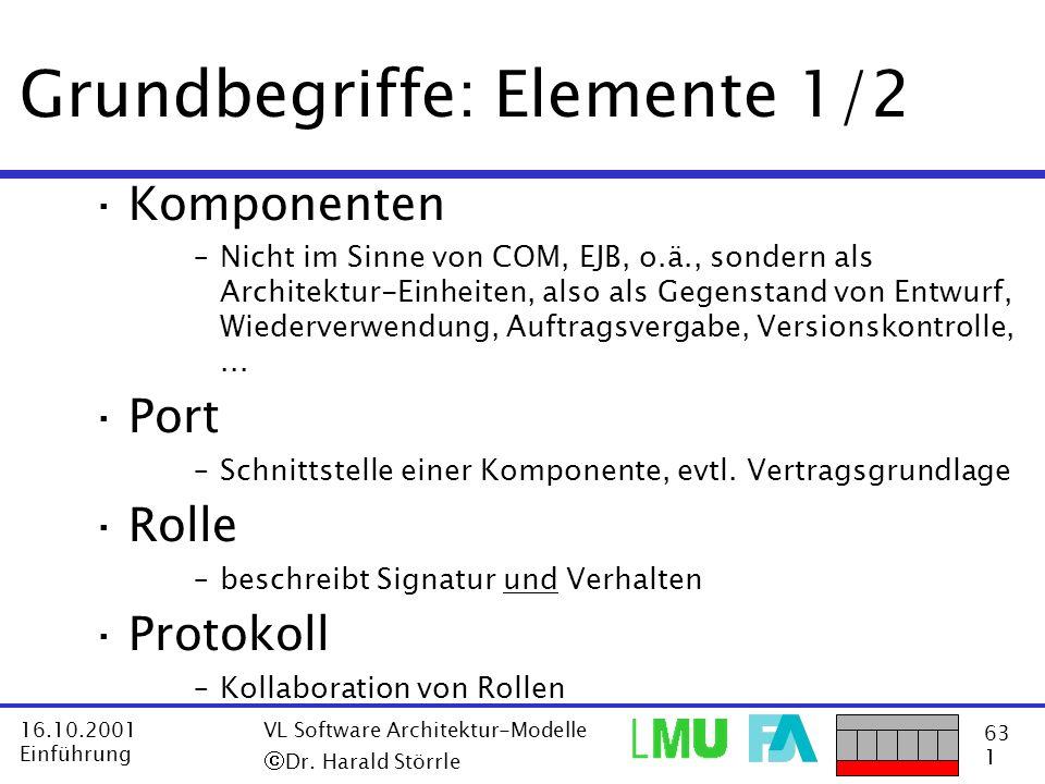63 1 16.10.2001 Einführung VL Software Architektur-Modelle Dr. Harald Störrle Grundbegriffe: Elemente 1/2 ·Komponenten –Nicht im Sinne von COM, EJB, o