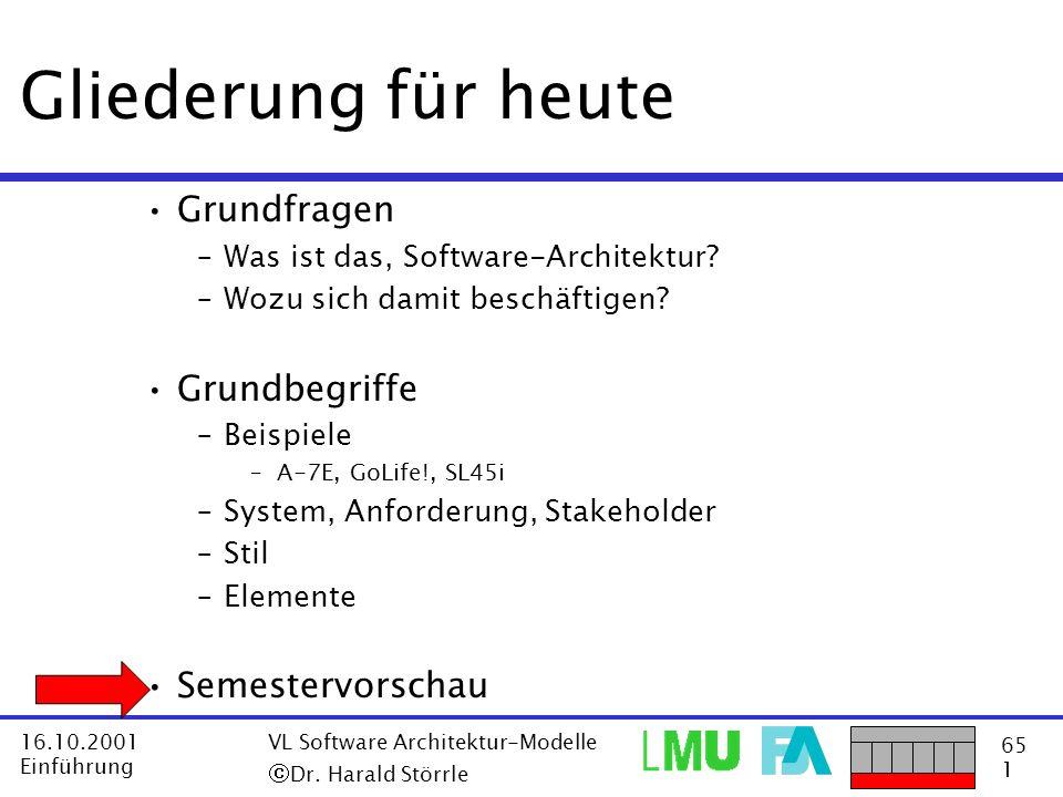 65 1 16.10.2001 Einführung VL Software Architektur-Modelle Dr. Harald Störrle Gliederung für heute Grundfragen –Was ist das, Software-Architektur? –Wo