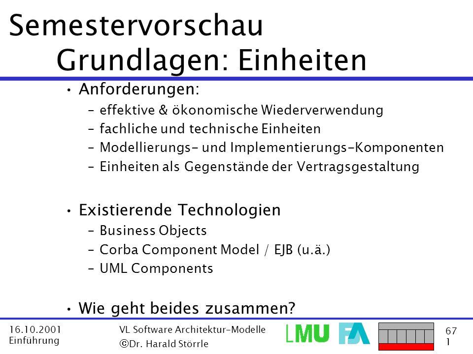 67 1 16.10.2001 Einführung VL Software Architektur-Modelle Dr. Harald Störrle Semestervorschau Grundlagen: Einheiten Anforderungen: –effektive & ökono