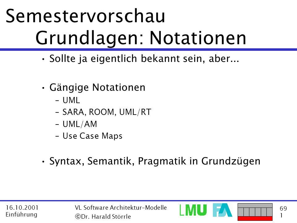 69 1 16.10.2001 Einführung VL Software Architektur-Modelle Dr. Harald Störrle Semestervorschau Grundlagen: Notationen Sollte ja eigentlich bekannt sei