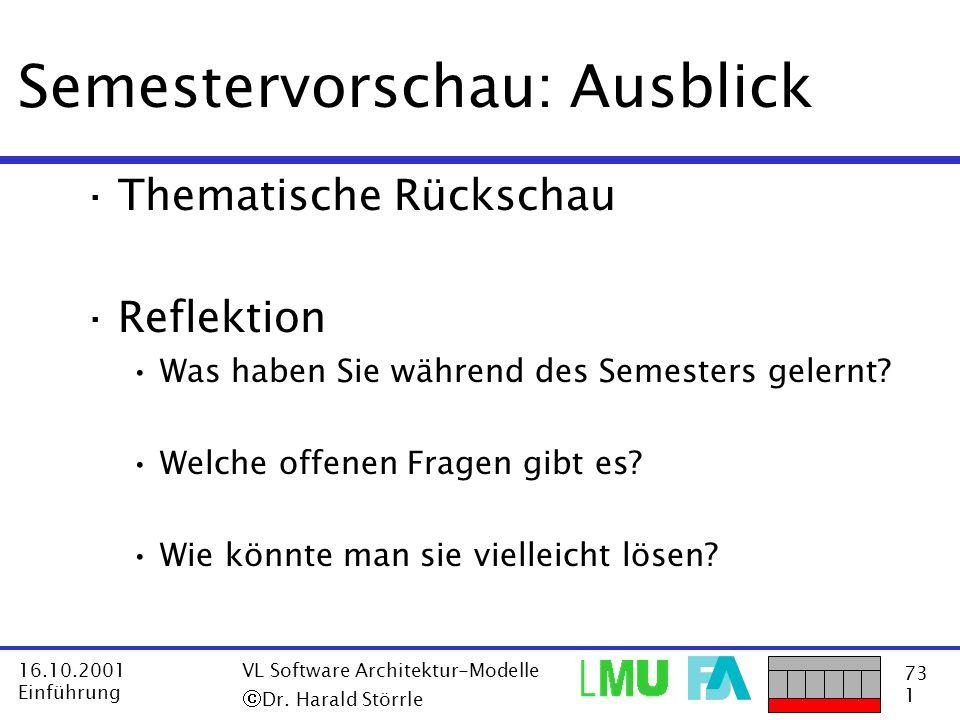 73 1 16.10.2001 Einführung VL Software Architektur-Modelle Dr. Harald Störrle Semestervorschau: Ausblick ·Thematische Rückschau ·Reflektion Was haben