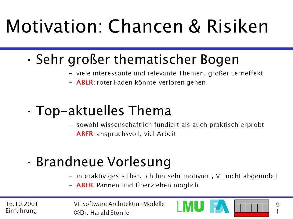 9191 16.10.2001 Einführung VL Software Architektur-Modelle Dr. Harald Störrle Motivation: Chancen & Risiken ·Sehr großer thematischer Bogen –viele int
