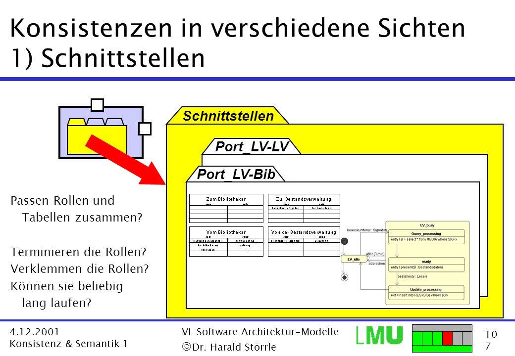 10 7 4.12.2001 Konsistenz & Semantik 1 VL Software Architektur-Modelle Dr. Harald Störrle Schnittstellen Port_LV-LV Konsistenzen in verschiedene Sicht