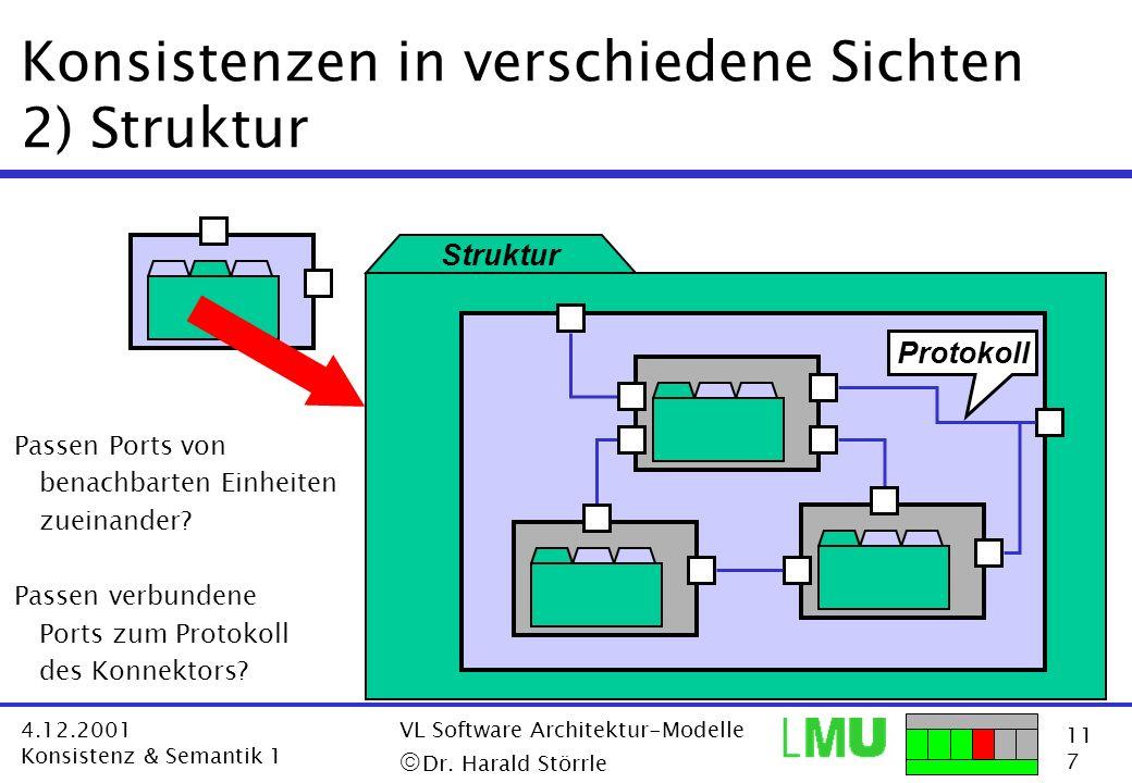 11 7 4.12.2001 Konsistenz & Semantik 1 VL Software Architektur-Modelle Dr. Harald Störrle Konsistenzen in verschiedene Sichten 2) Struktur Struktur Pr