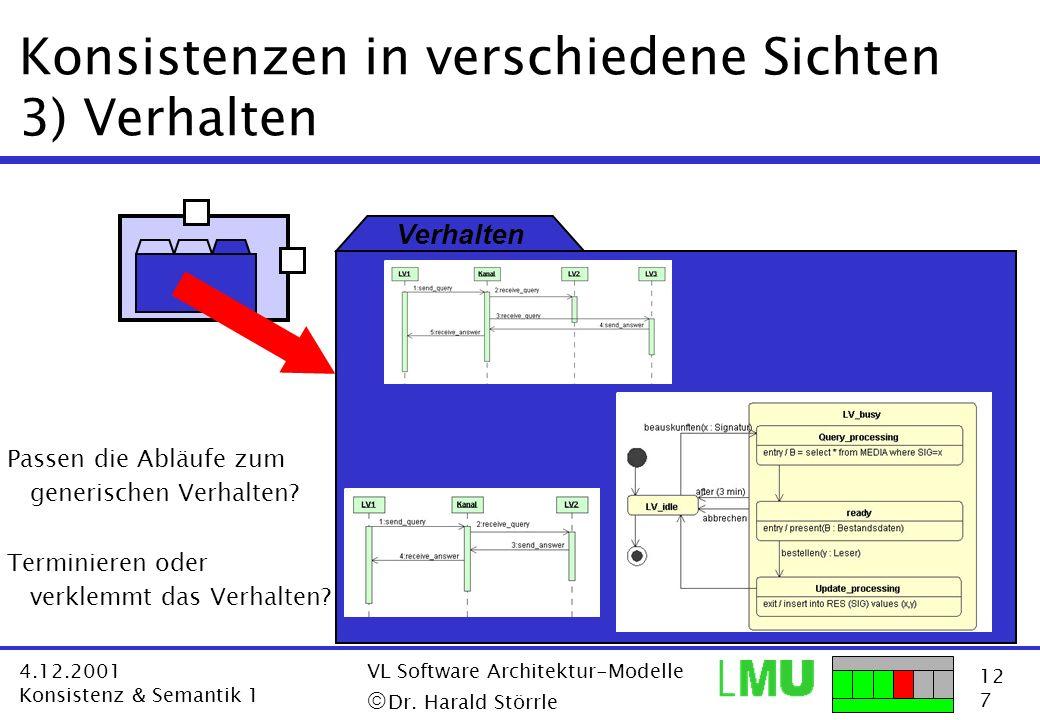 12 7 4.12.2001 Konsistenz & Semantik 1 VL Software Architektur-Modelle Dr. Harald Störrle Konsistenzen in verschiedene Sichten 3) Verhalten Verhalten