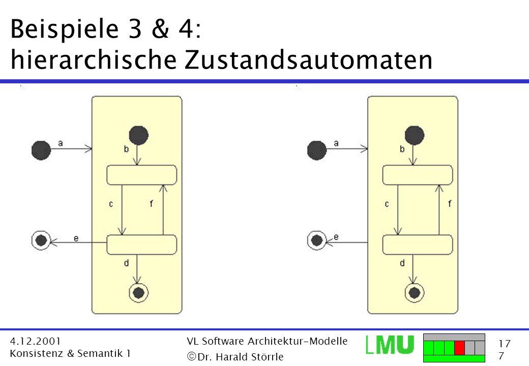 17 7 4.12.2001 Konsistenz & Semantik 1 VL Software Architektur-Modelle Dr. Harald Störrle Beispiele 3 & 4: hierarchische Zustandsautomaten