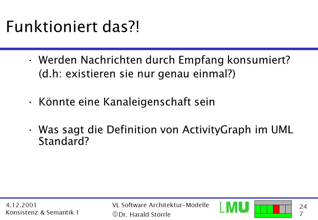 24 7 4.12.2001 Konsistenz & Semantik 1 VL Software Architektur-Modelle Dr. Harald Störrle Funktioniert das?! ·Werden Nachrichten durch Empfang konsumi