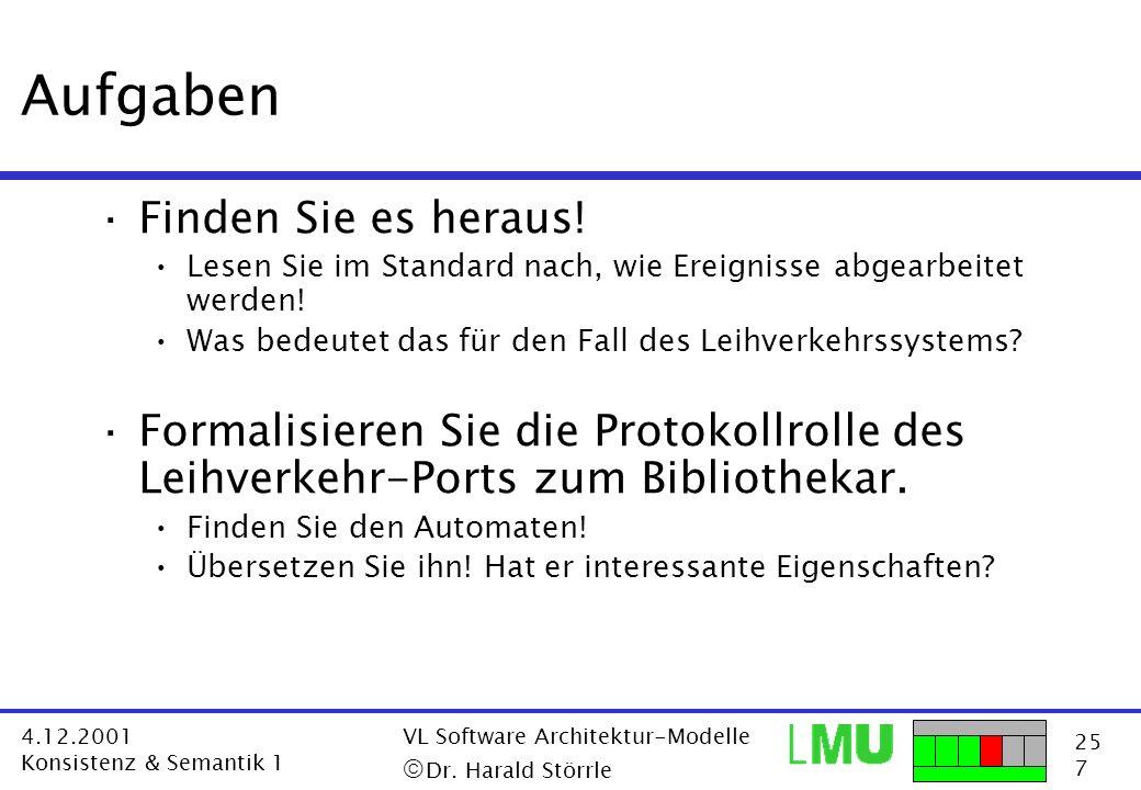 25 7 4.12.2001 Konsistenz & Semantik 1 VL Software Architektur-Modelle Dr. Harald Störrle Aufgaben ·Finden Sie es heraus! Lesen Sie im Standard nach,