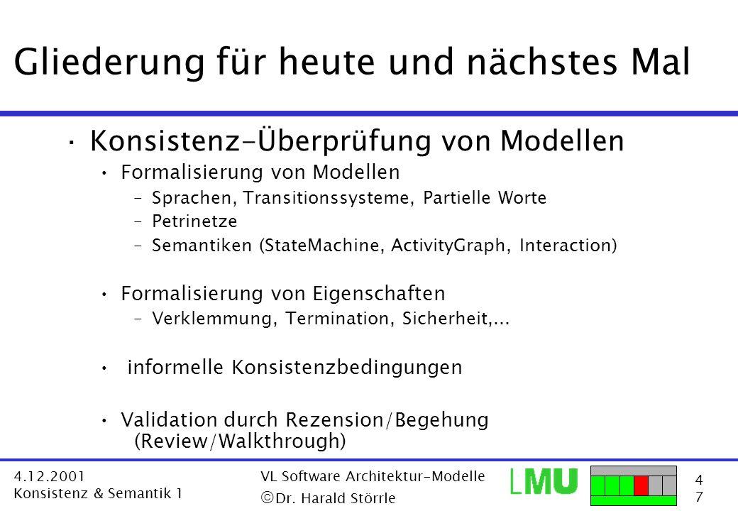 4747 4.12.2001 Konsistenz & Semantik 1 VL Software Architektur-Modelle Dr. Harald Störrle Gliederung für heute und nächstes Mal ·Konsistenz-Überprüfun