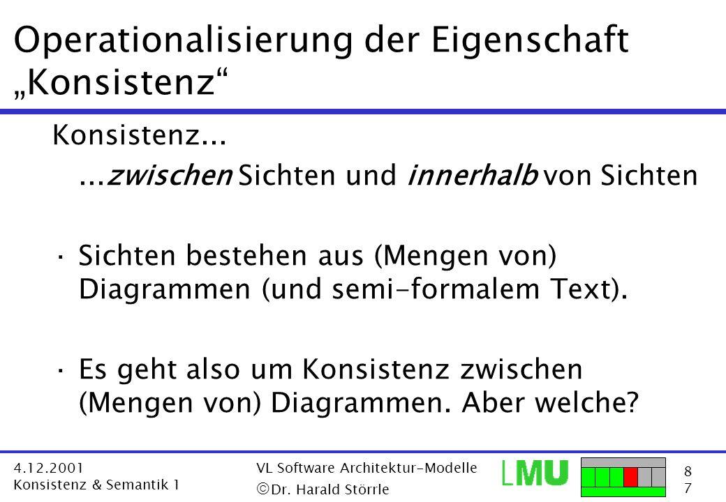 8787 4.12.2001 Konsistenz & Semantik 1 VL Software Architektur-Modelle Dr. Harald Störrle Operationalisierung der Eigenschaft Konsistenz Konsistenz...