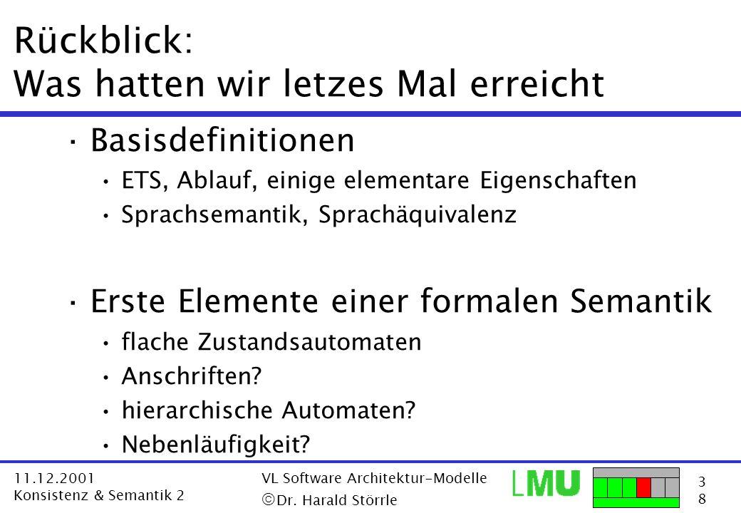 3838 11.12.2001 Konsistenz & Semantik 2 VL Software Architektur-Modelle Dr. Harald Störrle Rückblick: Was hatten wir letzes Mal erreicht ·Basisdefinit