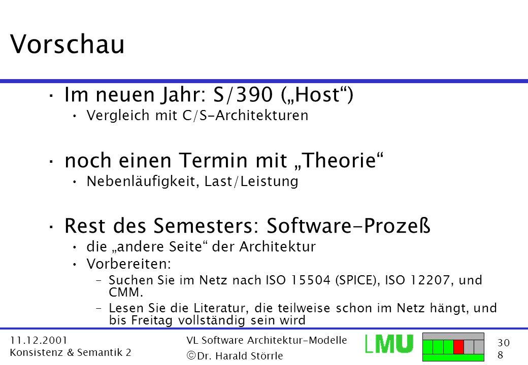 30 8 11.12.2001 Konsistenz & Semantik 2 VL Software Architektur-Modelle Dr. Harald Störrle Vorschau ·Im neuen Jahr: S/390 (Host) Vergleich mit C/S-Arc