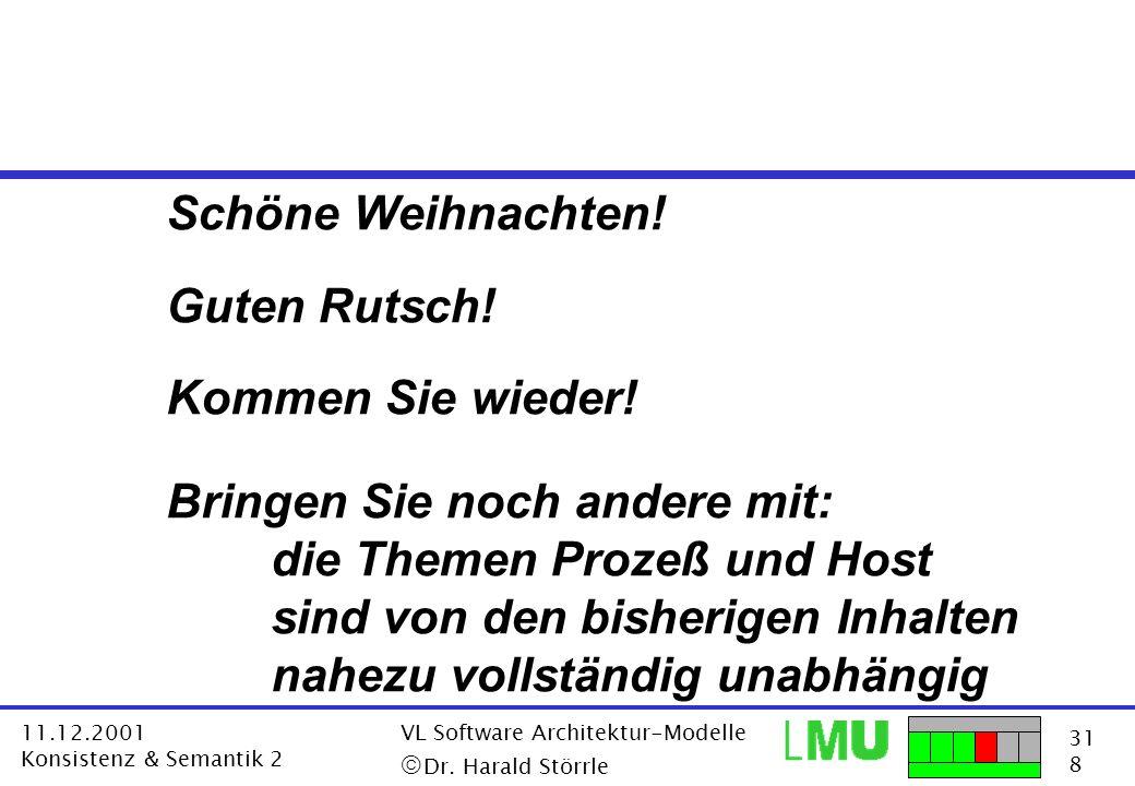 31 8 11.12.2001 Konsistenz & Semantik 2 VL Software Architektur-Modelle Dr. Harald Störrle Schöne Weihnachten! Guten Rutsch! Kommen Sie wieder! Bringe