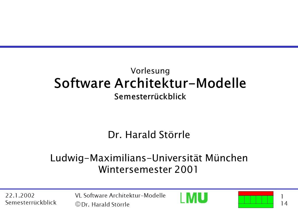 1 14 22.1.2002 Semesterrückblick VL Software Architektur-Modelle Dr. Harald Störrle Vorlesung Software Architektur-Modelle Semesterrückblick Dr. Haral
