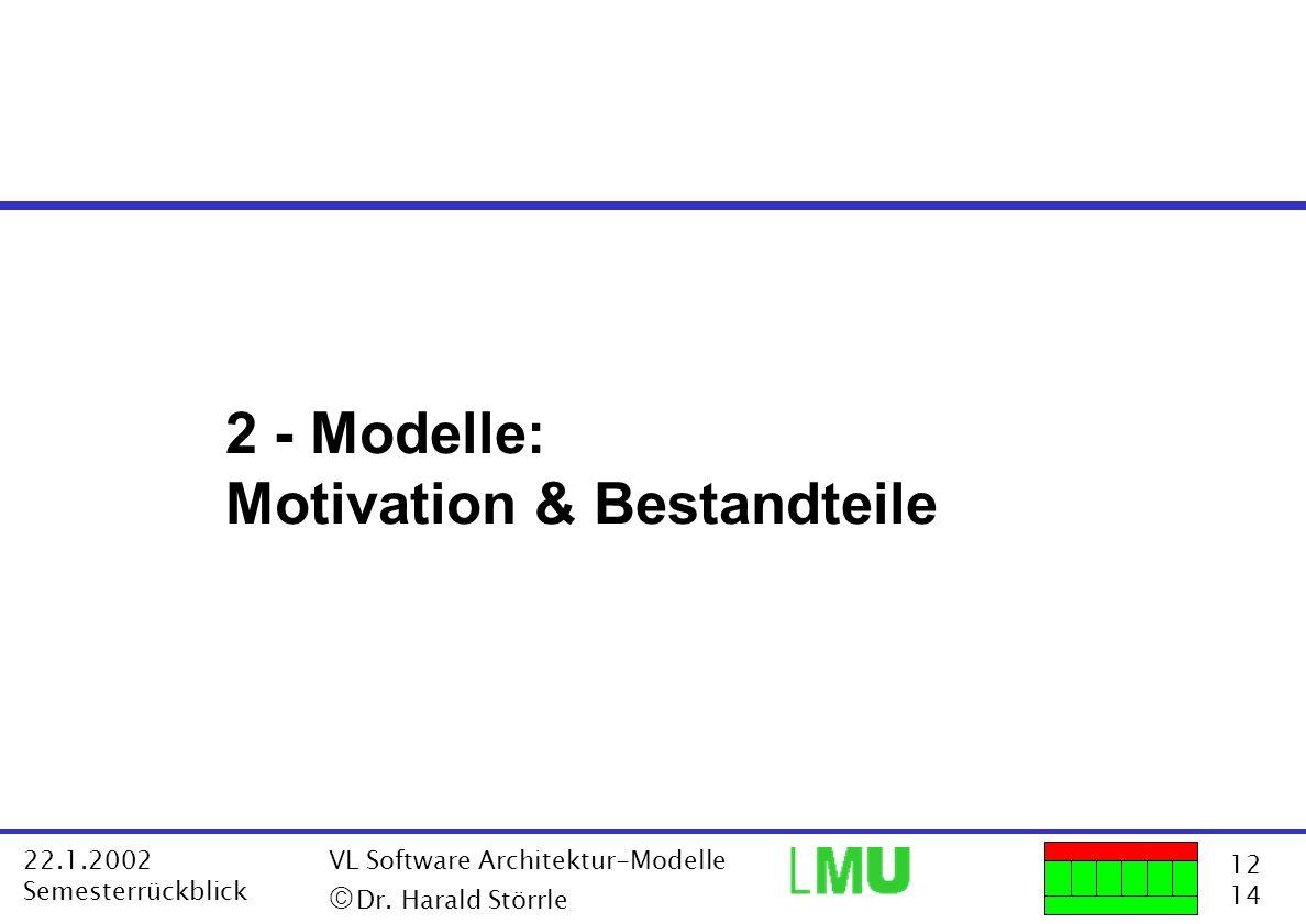12 14 22.1.2002 Semesterrückblick VL Software Architektur-Modelle Dr. Harald Störrle 2 - Modelle: Motivation & Bestandteile