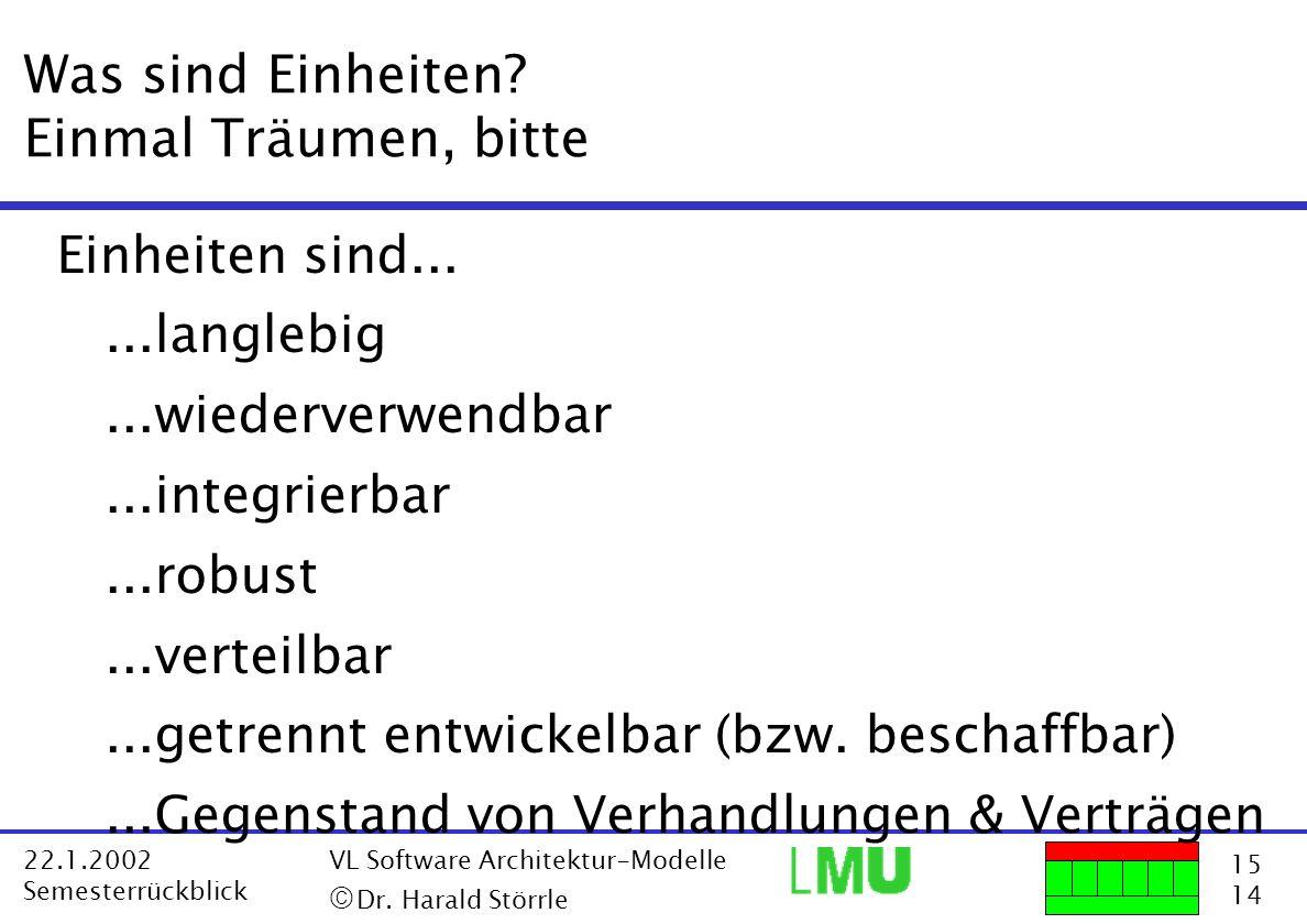 15 14 22.1.2002 Semesterrückblick VL Software Architektur-Modelle Dr. Harald Störrle Was sind Einheiten? Einmal Träumen, bitte Einheiten sind......lan