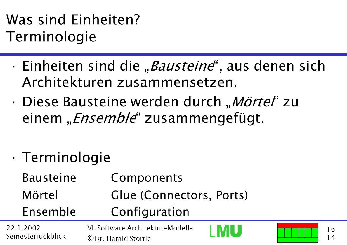 16 14 22.1.2002 Semesterrückblick VL Software Architektur-Modelle Dr. Harald Störrle Was sind Einheiten? Terminologie ·Einheiten sind die Bausteine, a