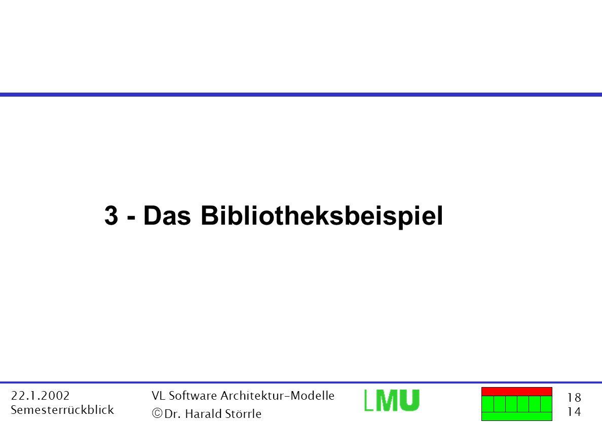 18 14 22.1.2002 Semesterrückblick VL Software Architektur-Modelle Dr. Harald Störrle 3 - Das Bibliotheksbeispiel