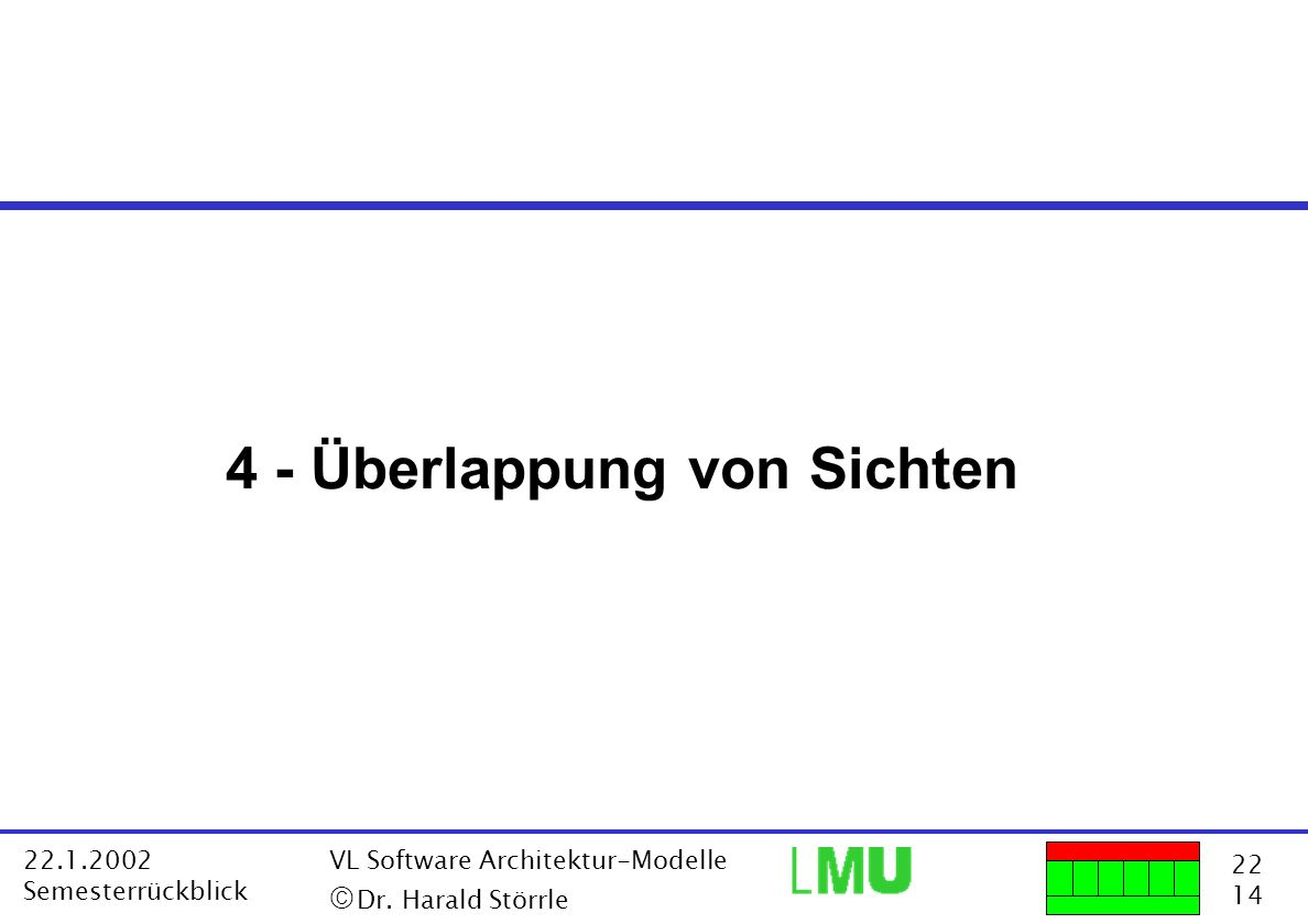 22 14 22.1.2002 Semesterrückblick VL Software Architektur-Modelle Dr. Harald Störrle 4 - Überlappung von Sichten