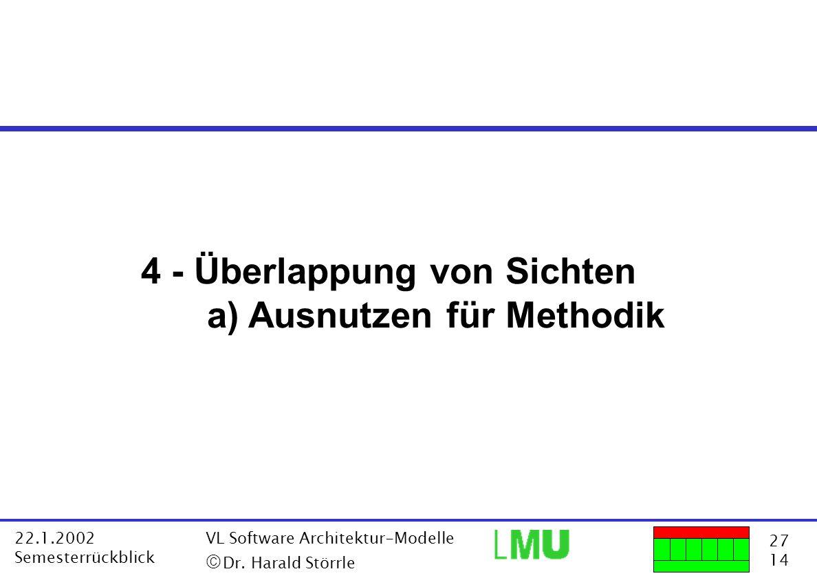 27 14 22.1.2002 Semesterrückblick VL Software Architektur-Modelle Dr. Harald Störrle 4 - Überlappung von Sichten a) Ausnutzen für Methodik
