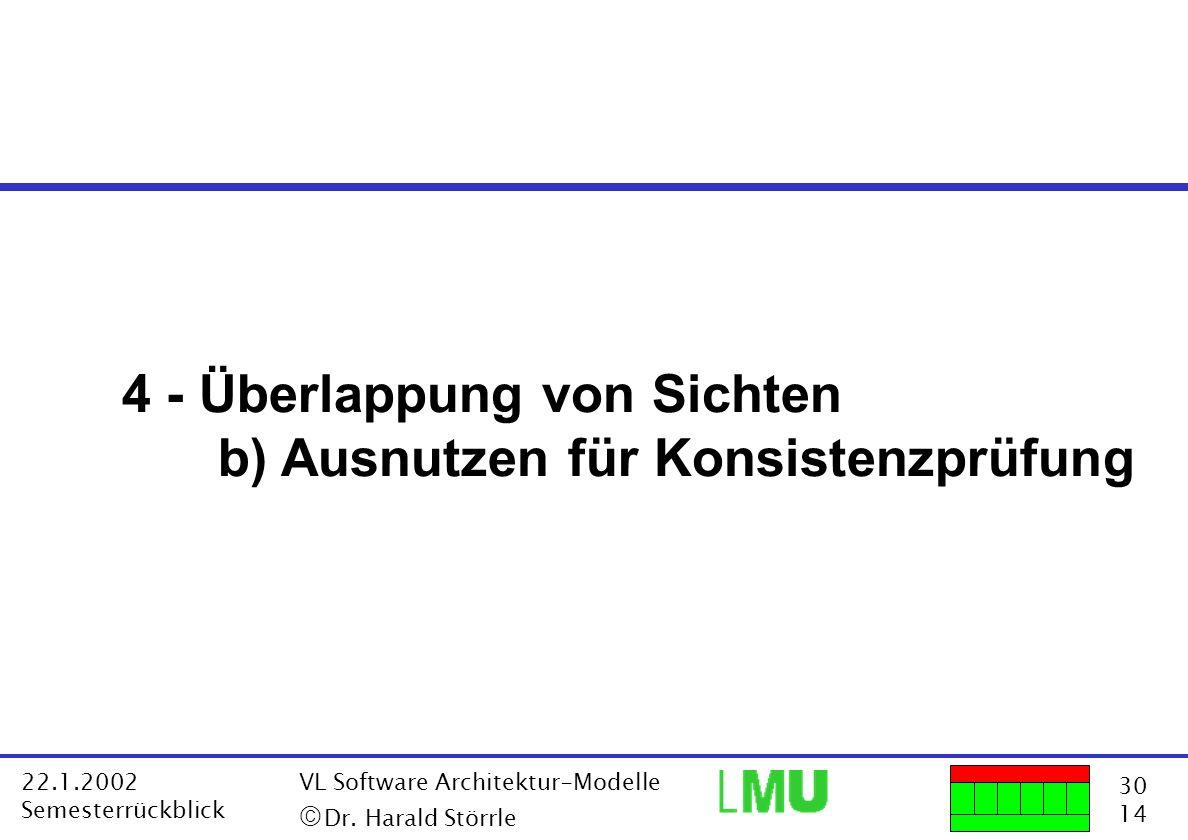 30 14 22.1.2002 Semesterrückblick VL Software Architektur-Modelle Dr. Harald Störrle 4 - Überlappung von Sichten b) Ausnutzen für Konsistenzprüfung