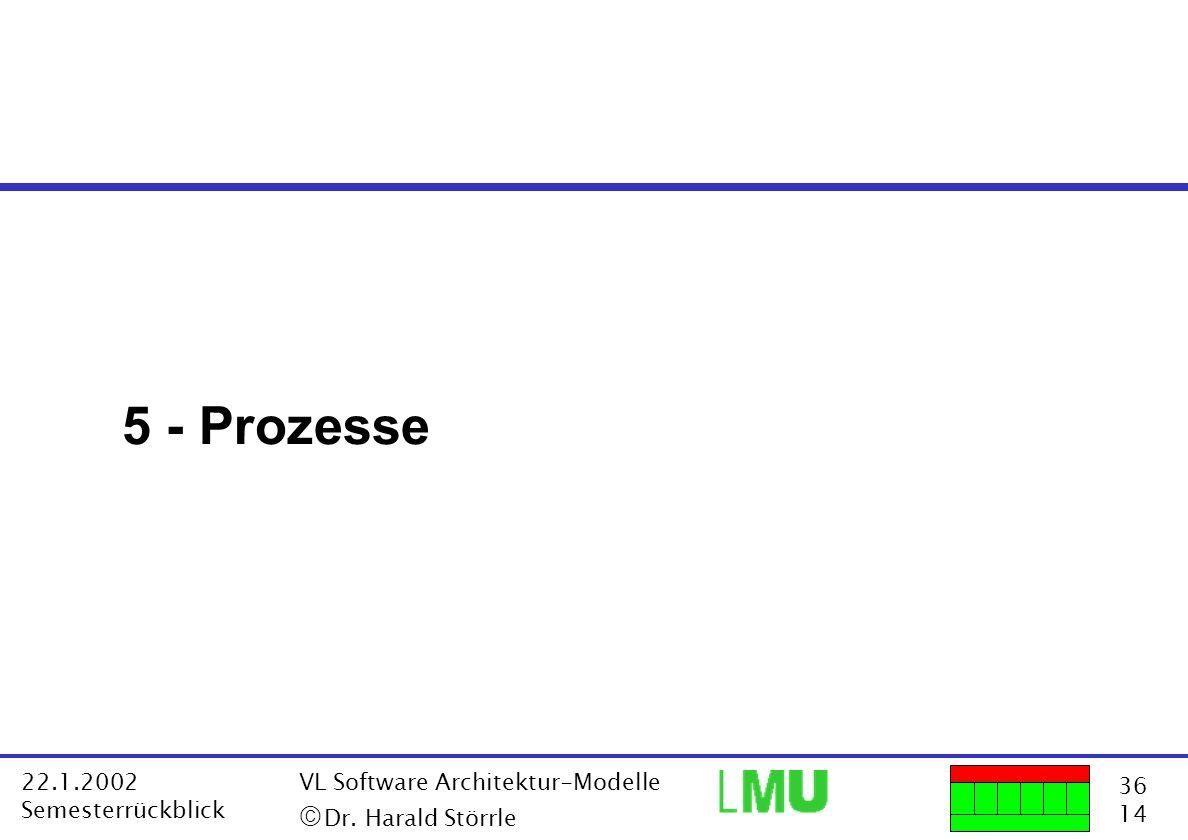 36 14 22.1.2002 Semesterrückblick VL Software Architektur-Modelle Dr. Harald Störrle 5 - Prozesse