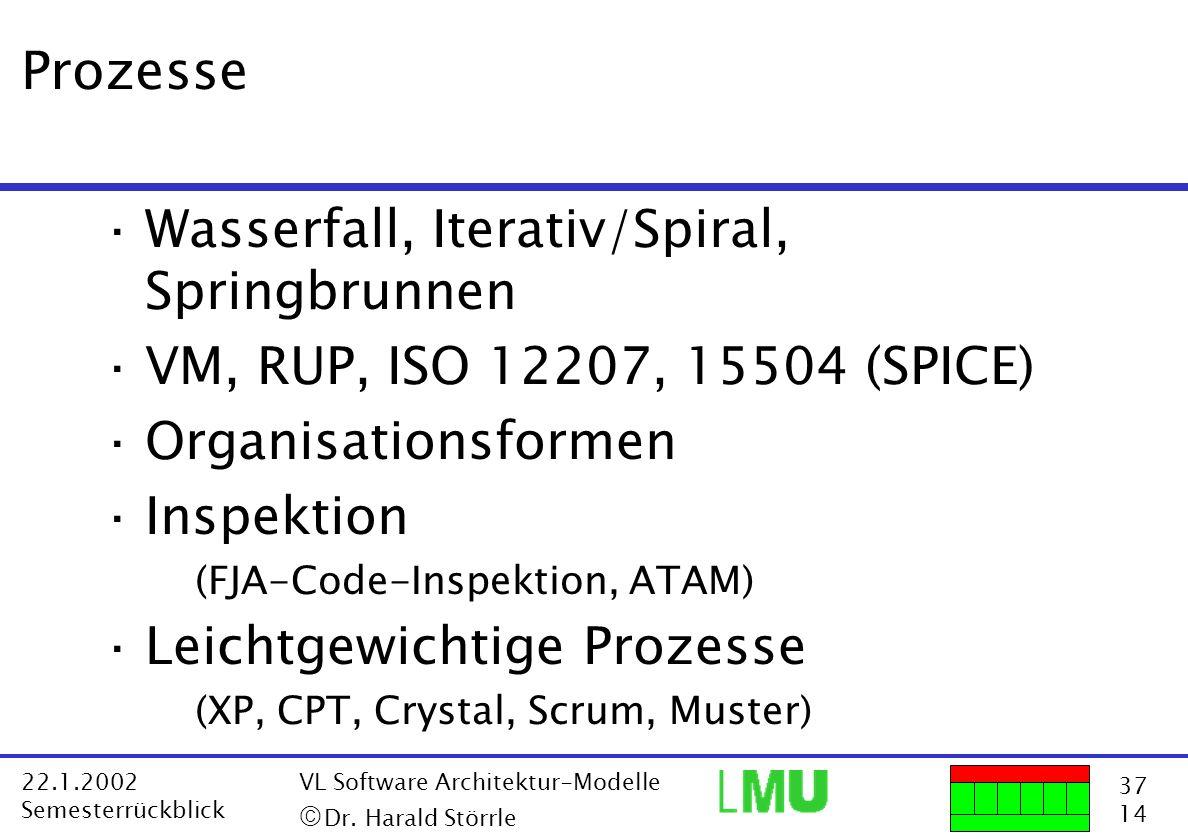 37 14 22.1.2002 Semesterrückblick VL Software Architektur-Modelle Dr. Harald Störrle Prozesse ·Wasserfall, Iterativ/Spiral, Springbrunnen ·VM, RUP, IS
