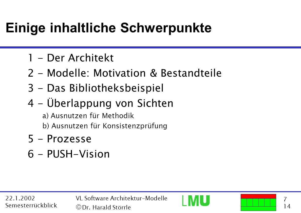 7 14 22.1.2002 Semesterrückblick VL Software Architektur-Modelle Dr. Harald Störrle Einige inhaltliche Schwerpunkte 1 - Der Architekt 2 - Modelle: Mot