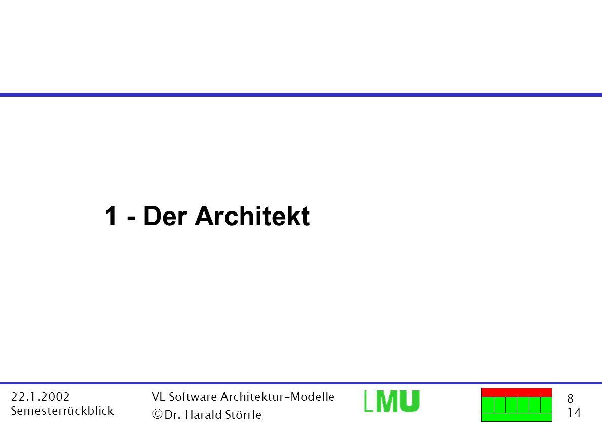 8 14 22.1.2002 Semesterrückblick VL Software Architektur-Modelle Dr. Harald Störrle 1 - Der Architekt