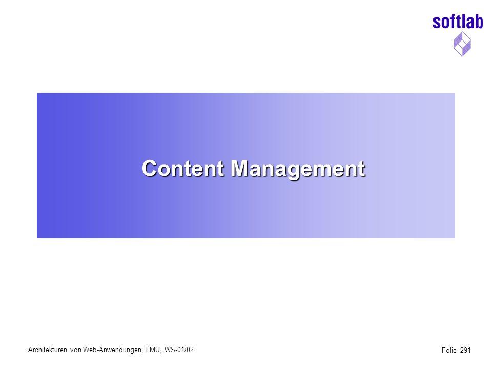 Architekturen von Web-Anwendungen, LMU, WS-01/02 Folie 332 IIP Content Employee Smith.html Single HTML page Employees Employees (dir) Structure 8kjjjj Ljljljjl ljkljkl 8kjjjj Ljljljjl ljkljkl 8kjjjj Ljljljjl ljkljkl 8kjjjj Ljljljjl ljkljkl Images (dir) Smith.gifMiller.gif Miller.html Smith.html 8kjjjj Ljljljjl ljkljkl Content Unit Topic