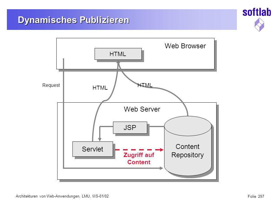 Architekturen von Web-Anwendungen, LMU, WS-01/02 Folie 338 Detail-Architektur für Content Web Client: Browser & Java Script Frame Support Servlets Dispatcher (Controller) Content Controller Content Repository Enabler Content Repository Enabler LDAP Enabler Connection Pool createupdatedeleteview Menu.jspTasks.jspStruct.jspUser.jspProcess.jsp...