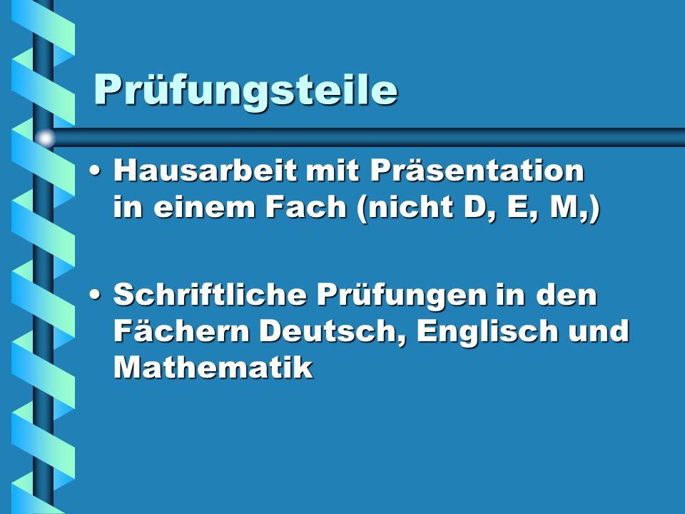 Hausarbeit mit Präsentation Themen der Prüfungen müssen eindeutig einem Unterrichtsfach zugeordnet werden können (nicht Deutsch, Englisch, Mathematik, oder ein Fach, dass in 9 und 10 nicht unterrichtet wird, kein WPU)Themen der Prüfungen müssen eindeutig einem Unterrichtsfach zugeordnet werden können (nicht Deutsch, Englisch, Mathematik, oder ein Fach, dass in 9 und 10 nicht unterrichtet wird, kein WPU) Themen müssen den Ansprüchen einer Jahrgangstufe 9/10 genügen und eine Problemstellung enthaltenThemen müssen den Ansprüchen einer Jahrgangstufe 9/10 genügen und eine Problemstellung enthalten
