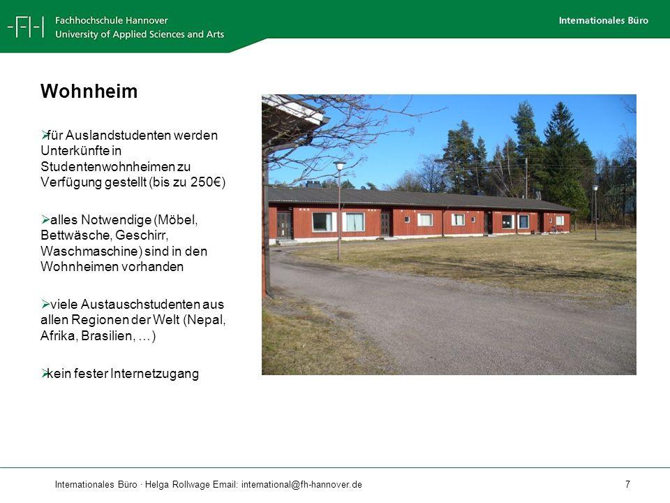 Internationales Büro · Helga Rollwage Email: international@fh-hannover.de 8 Aktionen