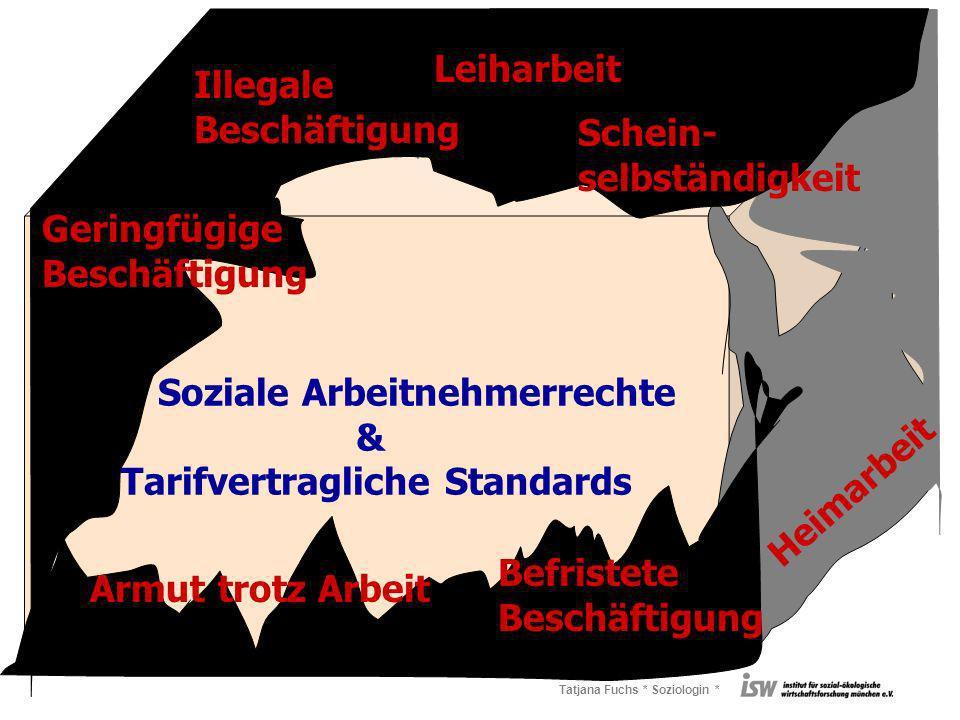 Tatjana Fuchs * Soziologin * Soziale Arbeitnehmerrechte & Tarifvertragliche Standards Leiharbeit Befristete Beschäftigung Armut trotz Arbeit Geringfügige Beschäftigung Illegale Beschäftigung Schein- selbständigkeit Heimarbeit