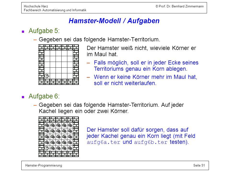 Hamster-ProgrammierungSeite 51 Hochschule Harz © Prof. Dr. Bernhard Zimmermann Fachbereich Automatisierung und Informatik Hamster-Modell / Aufgaben n