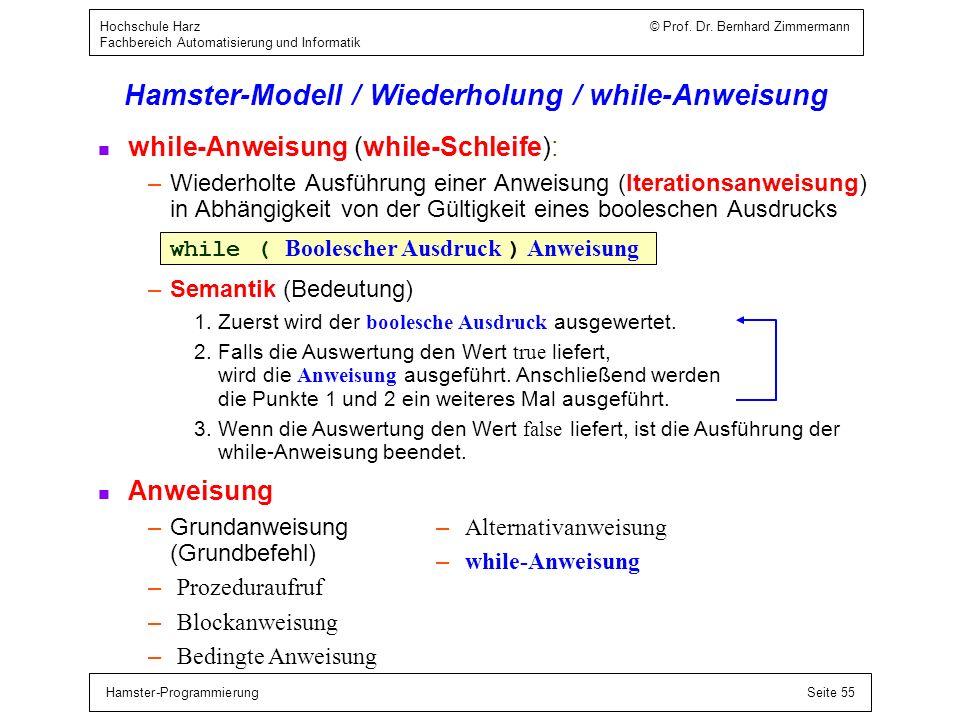 Hamster-ProgrammierungSeite 55 Hochschule Harz © Prof. Dr. Bernhard Zimmermann Fachbereich Automatisierung und Informatik Hamster-Modell / Wiederholun