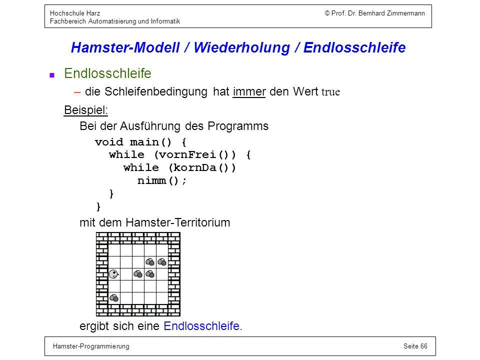 Hamster-ProgrammierungSeite 66 Hochschule Harz © Prof. Dr. Bernhard Zimmermann Fachbereich Automatisierung und Informatik Hamster-Modell / Wiederholun