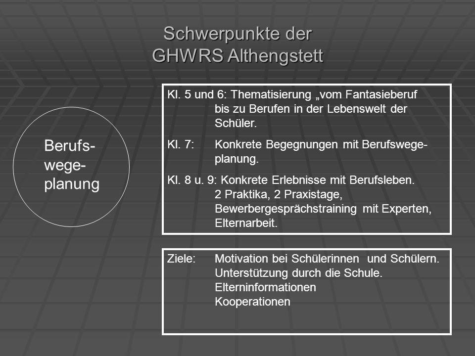 Schwerpunkte der GHWRS Althengstett Berufs- wege- planung Kl. 5 und 6: Thematisierung vom Fantasieberuf bis zu Berufen in der Lebenswelt der Schüler.