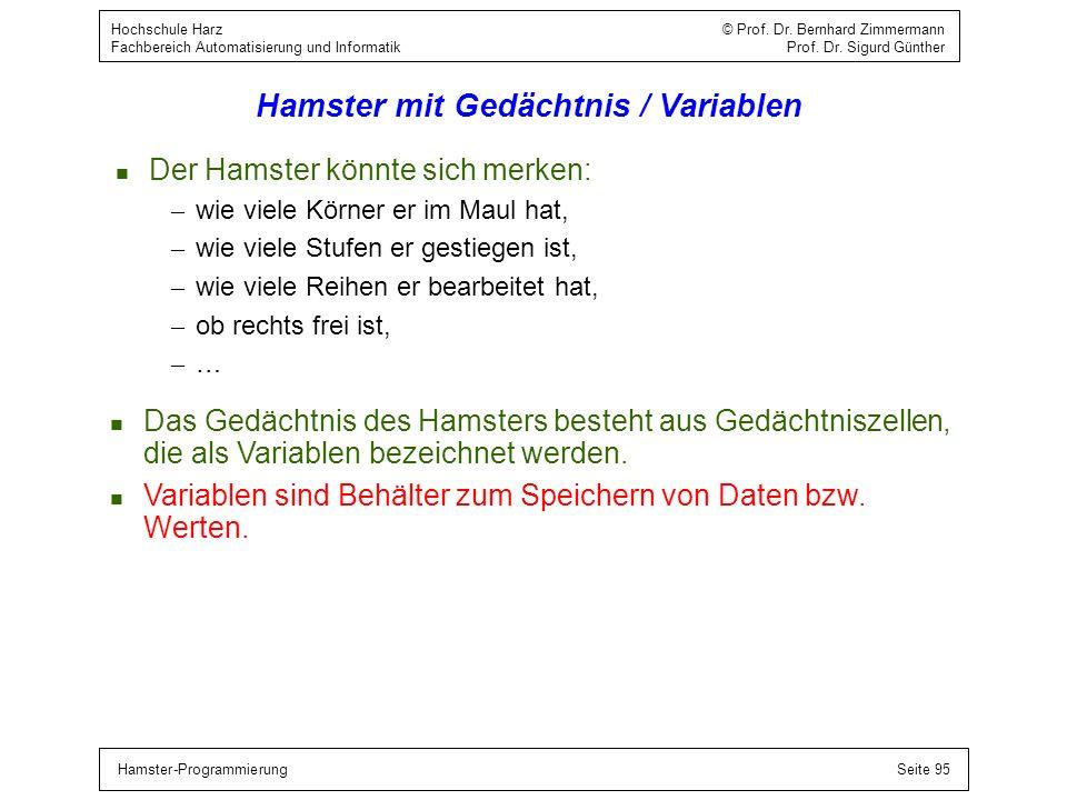 Hamster-ProgrammierungSeite 95 Hochschule Harz © Prof. Dr. Bernhard Zimmermann Fachbereich Automatisierung und Informatik Prof. Dr. Sigurd Günther Ham