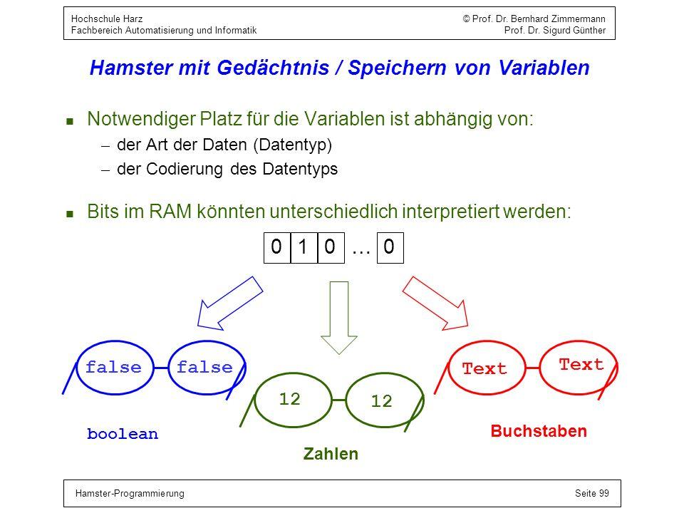 Hamster-ProgrammierungSeite 99 Hochschule Harz © Prof. Dr. Bernhard Zimmermann Fachbereich Automatisierung und Informatik Prof. Dr. Sigurd Günther Ham